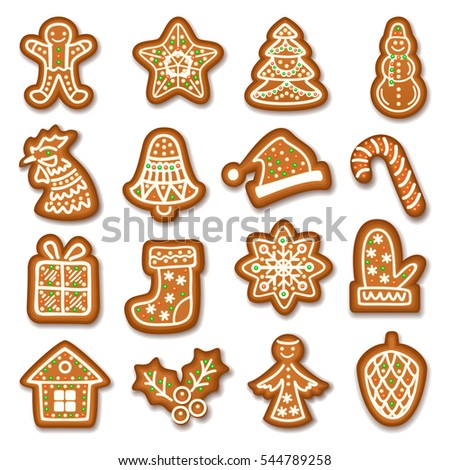 Set Of Gingerbread Christmas Cookies Decorated Icing Holiday Cookie In Shape Of Christmas Xmas Tree