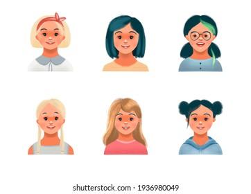 Set of girls avatars. Children characters