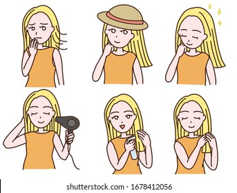 set of girls hair care asian