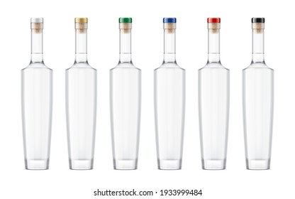 Set Glass Bottles with color caps. 3d rendering