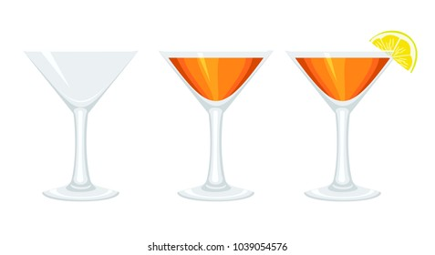 Set glass goblets with cocktail and with lemon. Raster clip art.