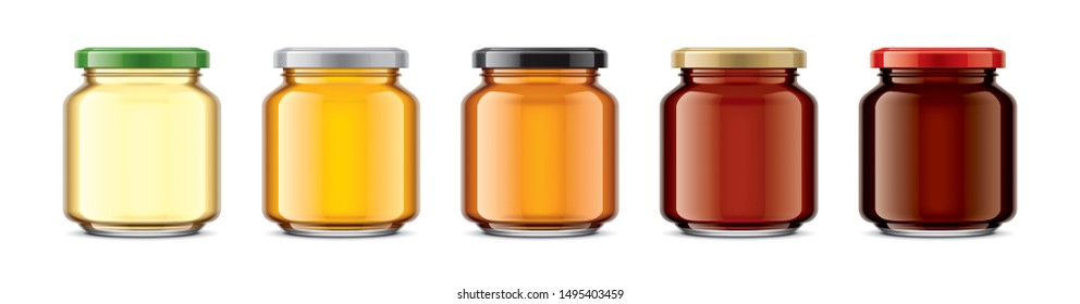 Set of Glass Jar with Honey. 3d rendering.