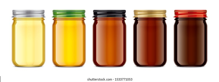 Set of Glass Jar with Honey. 3d rendering