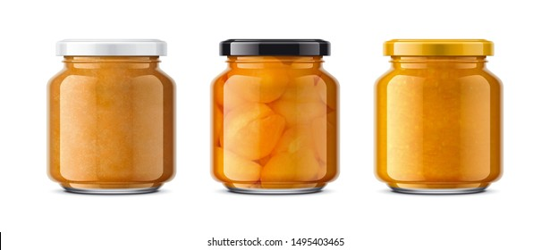 Set of Glass Jar with Jam. 3d rendering.