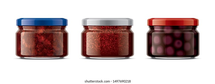 Set of Glass Jar with Jam. 3d rendering