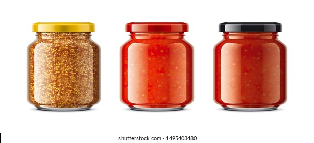 Set of Glass Jar with Sauces, Mustard. 3d rendering.