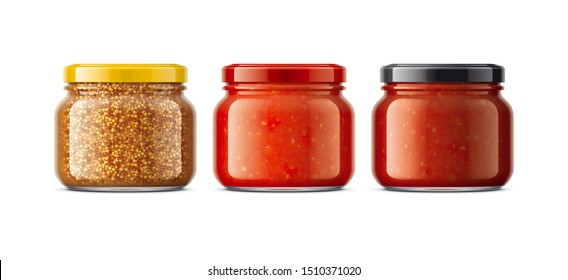 Set of Glass Jar with Sauces, Mustard. 3d rendering