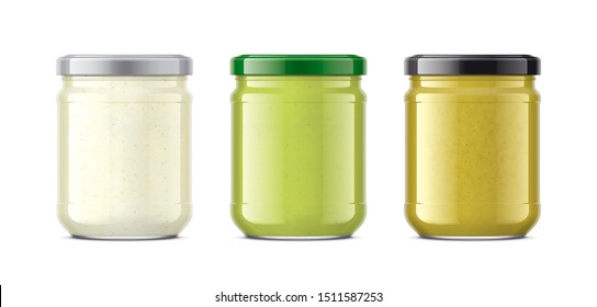 Set of Glass Jar with Sauces, Mustard, Wasabi, Horseradish. 3d rendering