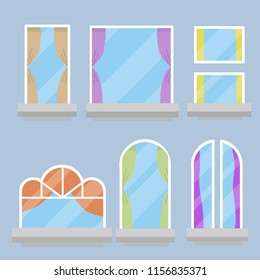Royalty Free Stock Illustration Of Set Glass Windows Home Elements
