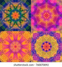 Set of gloomy kaleidoscope flowers. Illustrations for design seamless patterns.