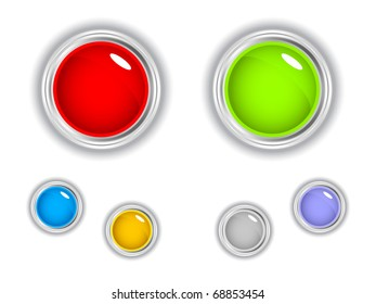Set of glossy buttons. Raster illustration.