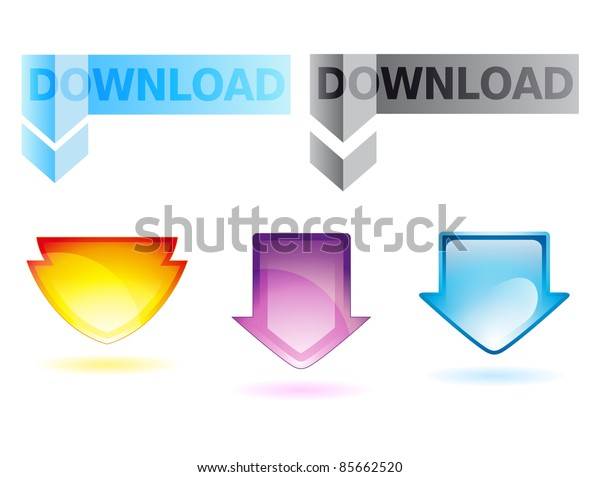 set of glossy color arrows for web design