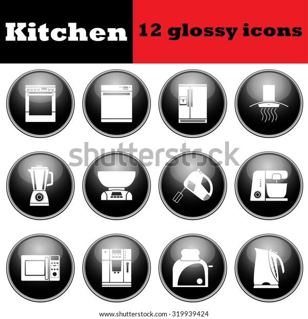 Set of glossy kitchen equipment glossy icons.  Raster illustration.
