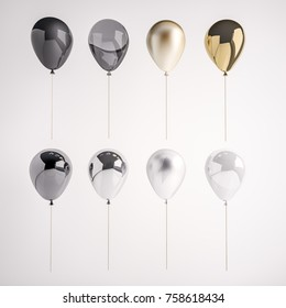 Set of glossy and satin black, white, golden, silver 3D realistic balloons on the stick for party, events, presentation or other promotion banner, posters.