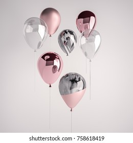 Set of glossy and satin pink, transparent, black and white marble 3D realistic balloons on the stick for party, events, presentation or other promotion banner, posters.