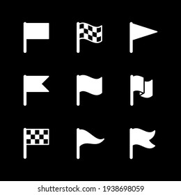 Set glyph icons of flag isolated on black. Pennant symbol