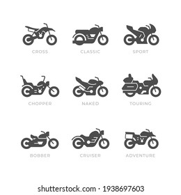 Set glyph icons of motorcycle isolated on white. Different types of motorbike, sport, cross, classic, chopper, bobber, naked, touring, cruiser, adventure
