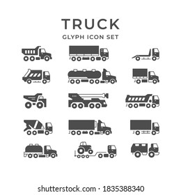 Set glyph icons of trucks isolated on white. Tanker, concrete mixer, crane, carrier dumper, commercial delivery, refrigerator, van