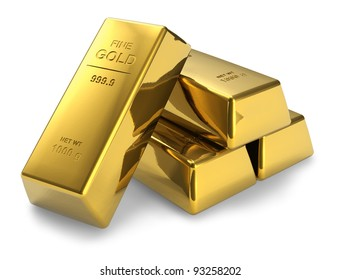 Set of gold bars isolated on white background