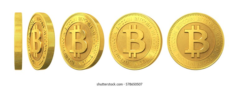 Set of gold coins with bitcoin sign isolated on a white background. 3d rendering.