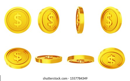Set of gold coins in different positions isolated - 3D illustration