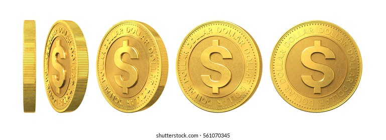 Set of gold coins with dollar sign isolated on a white background. 3d rendering.