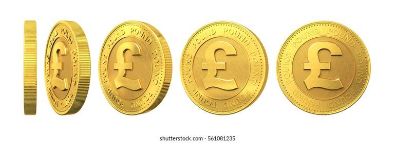Set of gold coins with pound sign isolated on a white background. 3d rendering.