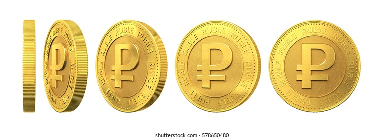Set of gold coins with ruble sign isolated on a white background. 3d rendering.