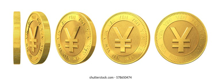 Set of gold coins with yen sign isolated on a white background. 3d rendering.