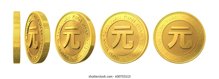 Set of gold coins with yuan sign isolated on a white background. 3d rendering.