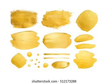Set of gold shining brush strokes for you amazing design project. Watercolor texture paint stain isolated on black. Abstract hand painted golden background.