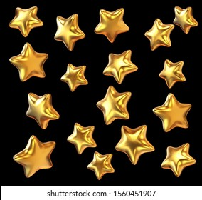 set of gold star isolated background.   for Design element. 3d illustration