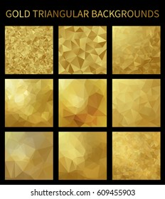 Set of gold triangular backgrounds. Geometric background in Origami style with gradient. Design for your background, cover, poster, banner, flyer, party invitation card, brochure etc