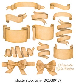A set of gold watercolor ribbon banners and bows. Hand drawing.