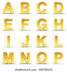 Set of golden alphabet from A to P over white background with clipping path for each item for fast and accurate isolation.