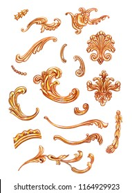 Set of golden baroque patterns, watercolor drawing on white background, isolated
