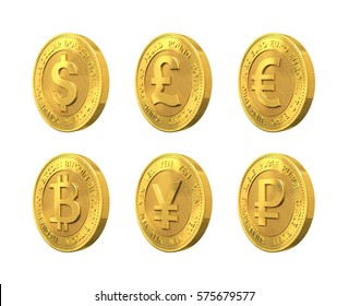 Set of golden coin with dollar, euro, pound sterling, ruble, bitcoin and yen signs. 3d rendering.