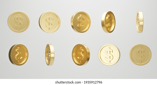 Set of golden coin with dollar sign in different shape on white background. 3d rendering.