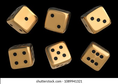 Set of golden dice with black dots isolated on black background. 3D rendered illustration.