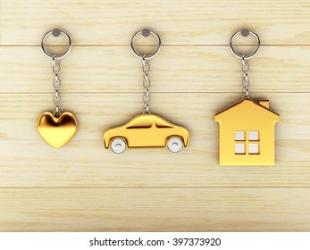 Set of golden keychains in the form of the house, car and heart is hanging on the wooden wall. 3d illustration.