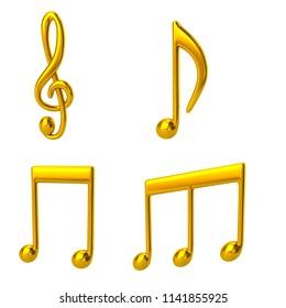 Set of golden music notes 3d illustration on white background
