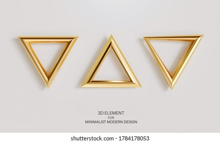 Set of golden triangles isolated on a light background. Realistic 3d element for decor, minimalistic modern design. Render