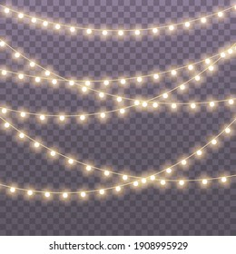Set of golden xmas glowing garland Led neon lamp illustration. Christmas lights isolated on transparent background for cards, banners, posters, web design.