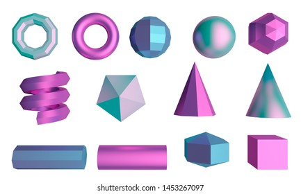 Set of graphic elements isolated on white background. Cube, sphere, tubes and cones. 3d rendering