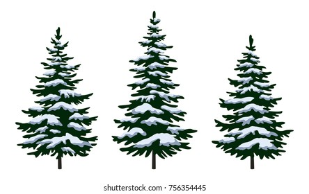 Set Green Fir Trees with White and Blue Snow, Winter Holiday Christmas Decoration Isolated on White Background.
