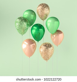 Set of green and golden glossy balloons on the stick with sparkles on green background. 3D render for birthday, party, wedding or promotion banners or posters. Vivid and realistic illustration.