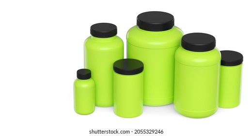 Set of green plastic jar for sport nutrition whey protein and gainer powder isolated on white background. 3d rendering of sport supplement for crossfit, trx and powerlifting workout