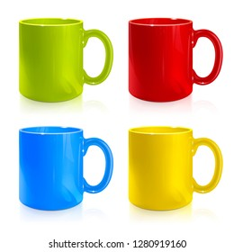 set of green, red, blue, yellow cups on white background