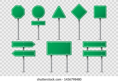 Set of green road signs on transparent background. Blank traffic road empty sign. Mock up template for your design.