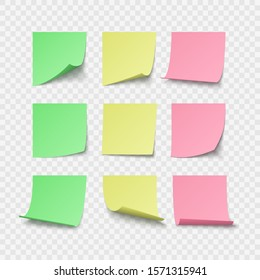 Set of green yellow and red pin stickers with space for text or message. illustration isolated on transparent background